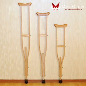 Костыли подмышечные с деревянными ручками 02-К с УПС