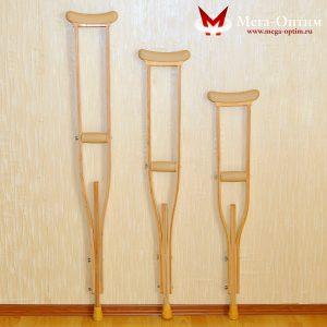 Костыли подмышечные деревянные с мягкими ручками 01-КИ