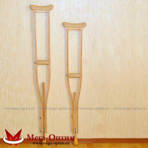 Костыли подмышечные деревянные с мягкими ручками 02-КИ с УПС (Штырь)
