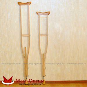 Костыли подмышечные с деревянными ручками 02-К с УПС Штырь