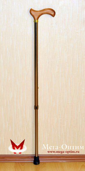 Трость телескопическая алюминиевая с деревянной ручкой ТР1