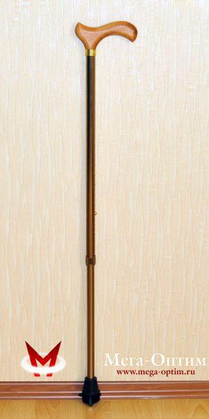 """Трость телескопическая алюминиевая с деревянной ручкой с УПС """"Антилёд"""""""