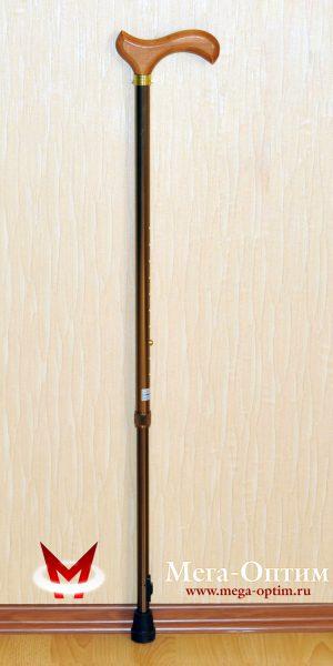 """Трость телескопическая алюминиевая с деревянной ручкой с УПС """"Штырь"""""""